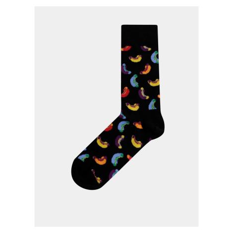 Čierne dámske vzorované ponožky Happy Socks Hotdog