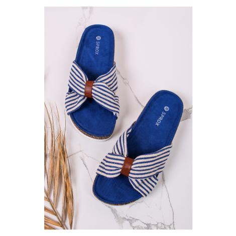 Modré pásikavé nízke šľapky Anisse SPROX