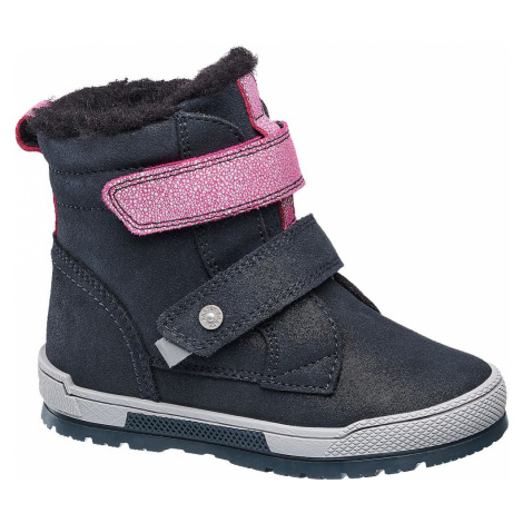 Bartek - Tmavomodrá kožená detská zimná obuv Bartek