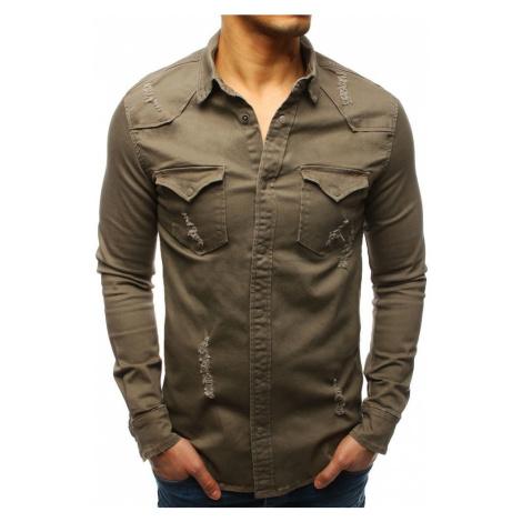 Moderná pánska sivá košeľa dx1726