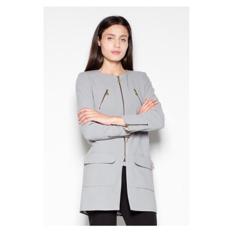 Sivý predĺžený kabátik VT038 Venaton