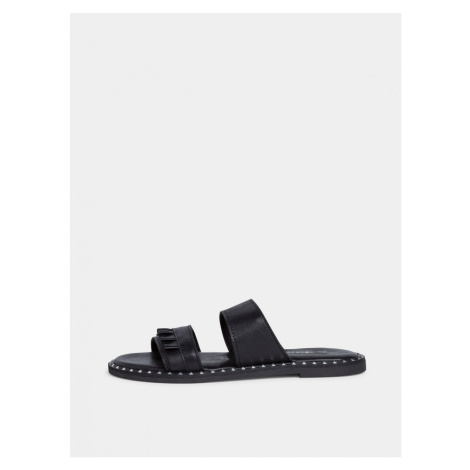 Tamaris Black Leather Slippers