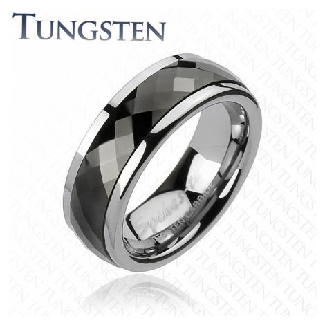 Wolfrámový prsteň s otáčavým stredom - čierne kosoštvorce - Veľkosť: 67 mm