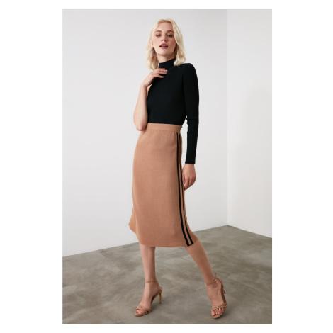 Trendyol Camel Side Striped Knitwear Skirt
