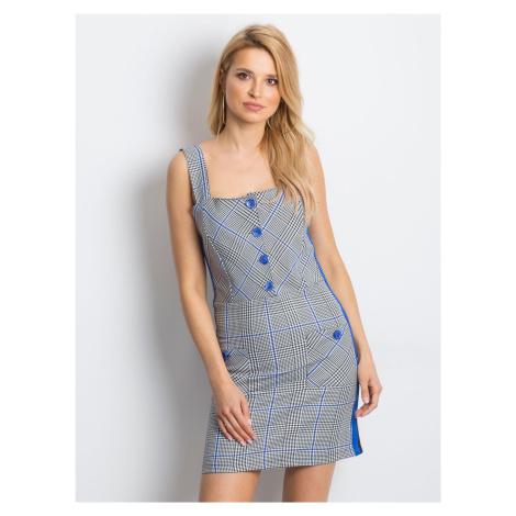 Modré kárované šaty na ramienka
