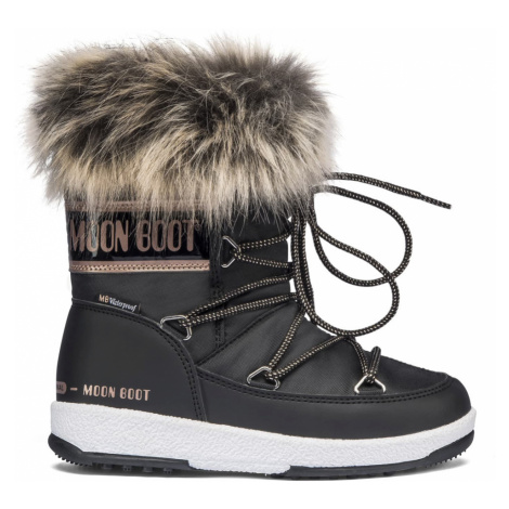 Moon Boot čierne zimné dievčenské topánky JR Girl Monaco Low WP Black/Cooper