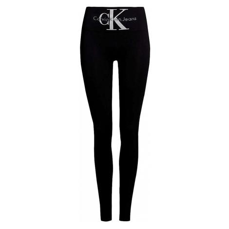 Calvin Klein čierne legíny s vysokým pásom Jeans Logo High Waist s logom