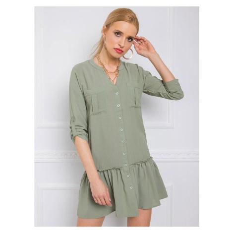 RUE PARIS Gray and green shirt dress
