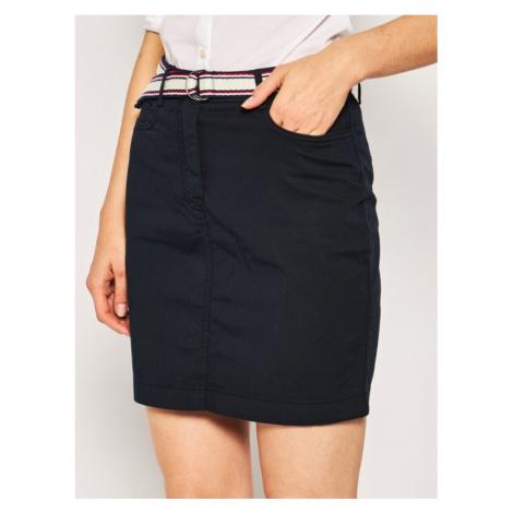 TOMMY HILFIGER Mini sukňa GMD WW0WW27779 Tmavomodrá Slim Fit