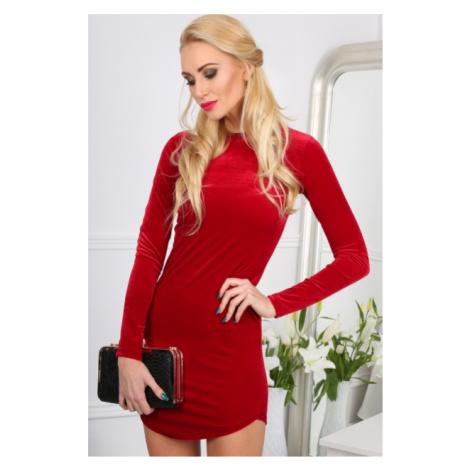 Elegantné, sexi, mini červené šaty s dlhými rukávmi FASARDI