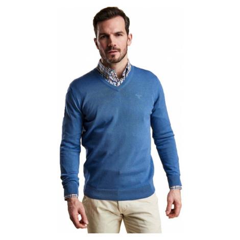 Barbour Ľahký sveter z pima bavlny Barbour Pima Cotton V-Neck - modrý