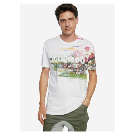 Desigual biele pánske tričko TS Cameron