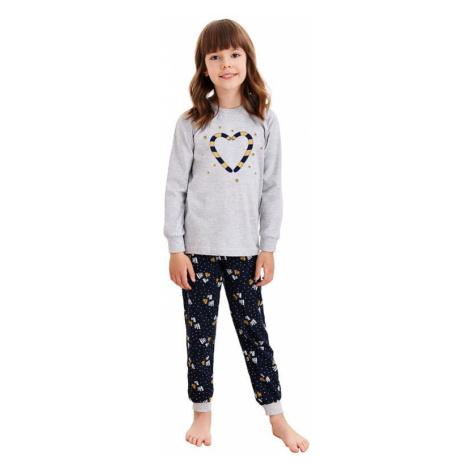Detské pyžamo Ada šedé s vianočnými paličkami Taro