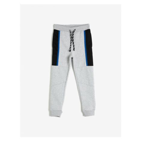 Koton Boy Gray Strap Color-Blocked Normal Rise Sweatpants