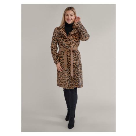 Kožený kabát s leopardím vzorom KARA