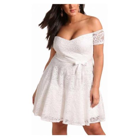 Čipkované plus size šaty Kyra - biele