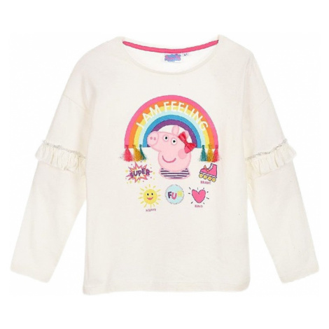 Prasiatko peppa - biele dievčenské tričko s dlhým rukávom Peppa Pig