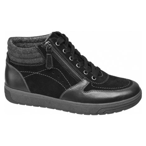 Medicus - Čierna kožená komfortná šnurovacia obuv Medicus