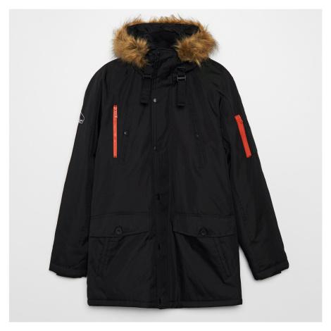 Cropp - Kabát s kapucňou - Čierna