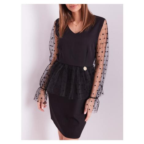 Elegant black dress with tulle sleeves