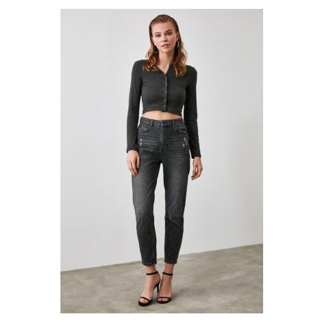 Trendyol Black Ripped DetailIng High Waist Mom Jeans