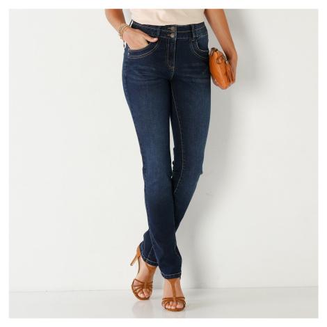 Blancheporte Rovné džínsy v opranom vzhľade tmavomodrá