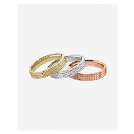 Calvin Klein Rock Prsten 3 ks Ružová Zlatá Strieborná