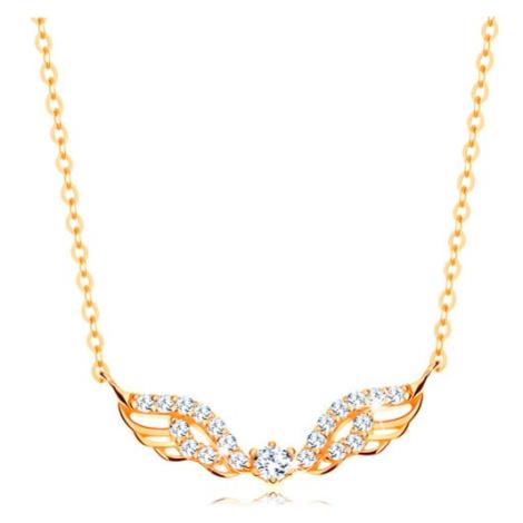 Náhrdelník zo žltého 14K zlata - anjelské krídla zdobené čírymi zirkónmi