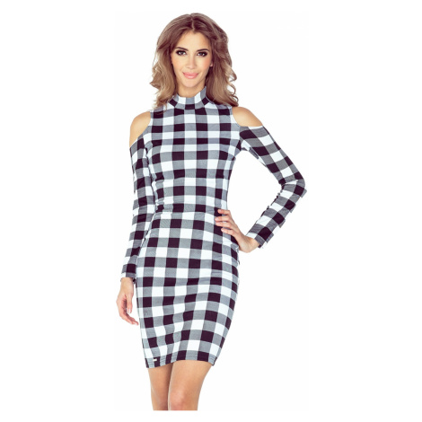 MM 008-2 Dress with turtleneck and long sleeves - BLACK AND WHITE CHECK Morimia
