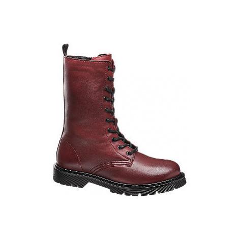Tmavočervená kožená šnurovacia obuv so zipsom 5th Avenue