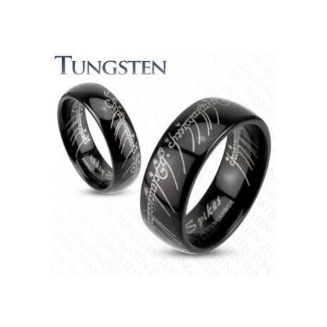 Prsteň z wolfrámu - hladká čierna obrúčka, Pán prsteňov, 6 mm - Veľkosť: 68 mm