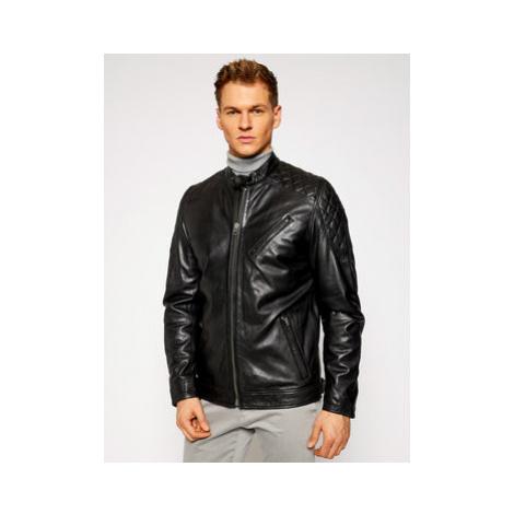 Pepe Jeans Kožená bunda Defoe PM402299 Čierna Regular Fit