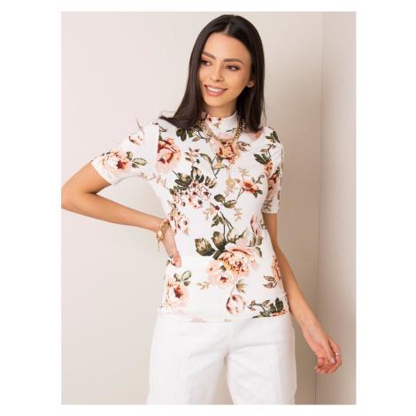 RUE PARIS Ecru floral blouse