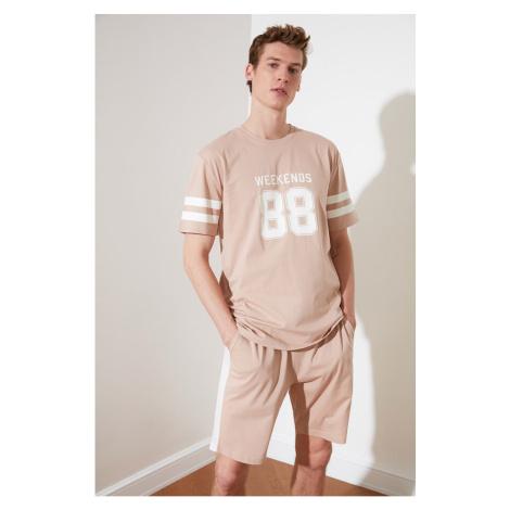 Trendyol Camel Print Knitted Pyjama Suit