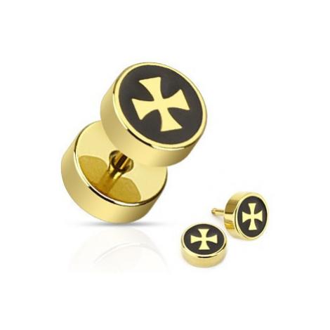 Falošný plug z chirurgickej ocele - kríž zlatej farby na čiernom podklade