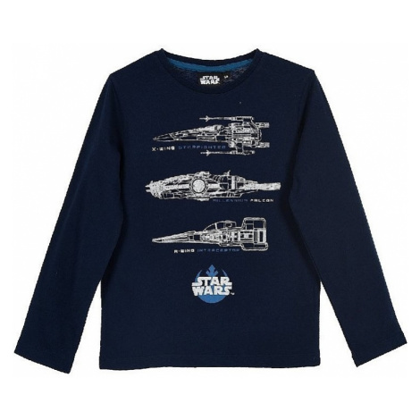 Star wars tmavo modré chlapčenské tričko s dlhým rukávom