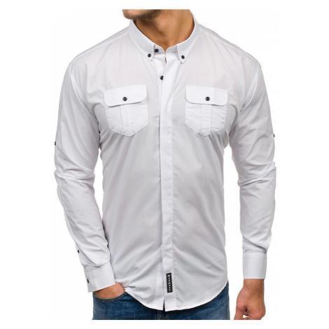 Biela pánska elegantná košeľa s dlhými rukávmi BOLF 0780 MADMEXT