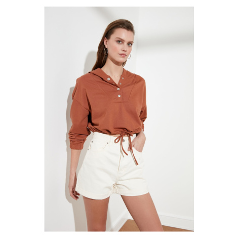 Trendyol Cinnamon Snap Detailed Crop Knitted Sweatshirt