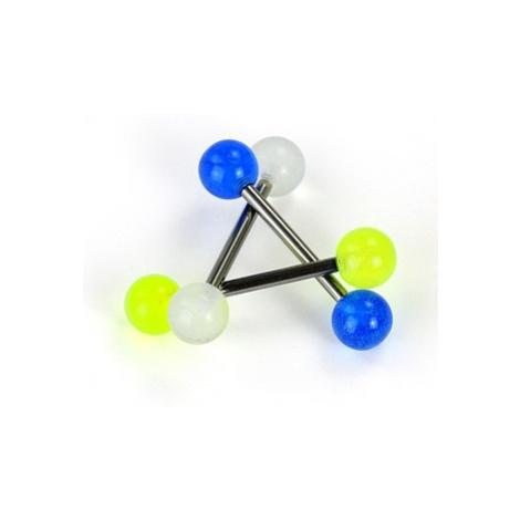 Piercing do jazyka z titánu - žiarivé guličky - Farba piercing: Modrá