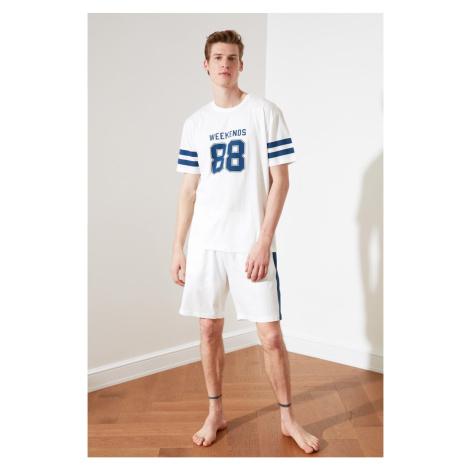 Trendyol White Print Knitted Pajama Set