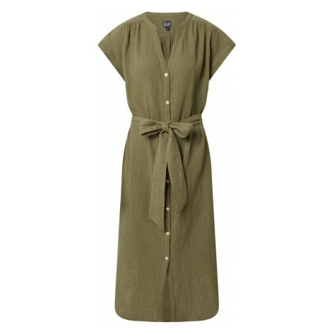 GAP Košeľové šaty 'GAUZE'  olivová