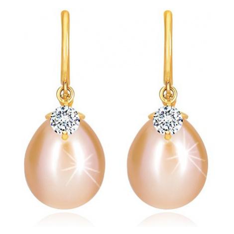 Diamantové náušnice v žltom 14K zlate - lesklý oblúčik, oválna perla a briliant