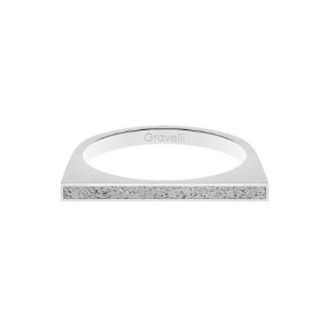 Gravelli Oceľový prsteň s betónom One Side oceľová / sivá GJRWSSG121 mm