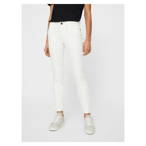 Biele skinny fit džínsy Noisy May