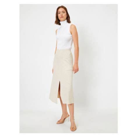 Koton Women Ecru Pocket Midi Skirt