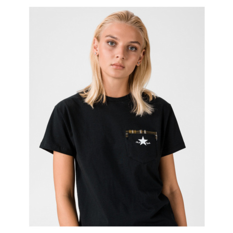 Converse Plaid Pocket Tričko Čierna