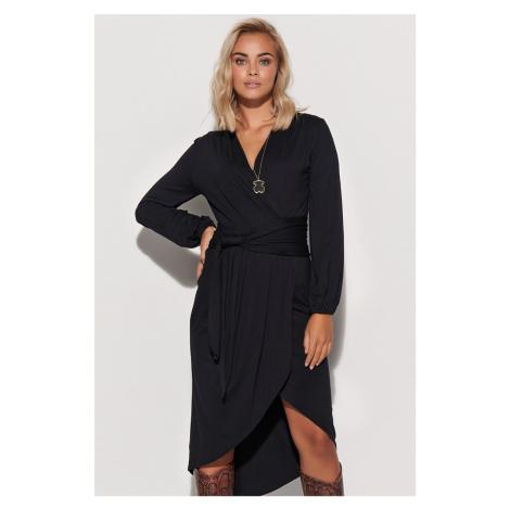 Čierne asymetrické šaty s dlhým rukávom M577 Makadamia