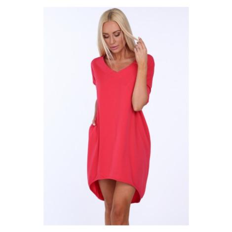 Dámske letné šaty s výstrihom v tvare písmena V, ružové FASARDI