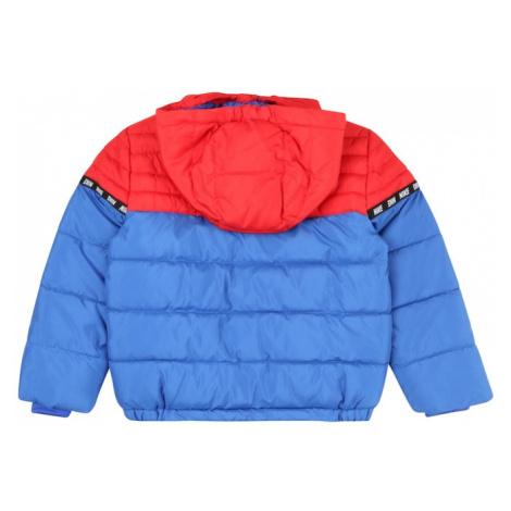 Nike Sportswear Zimná bunda  kráľovská modrá / svetločervená / čierna / biela