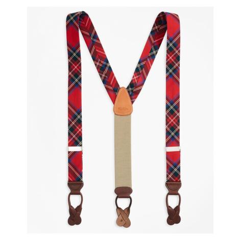 Traky Brooks Brothers Royal Stewart Tartan Suspenders - Červená